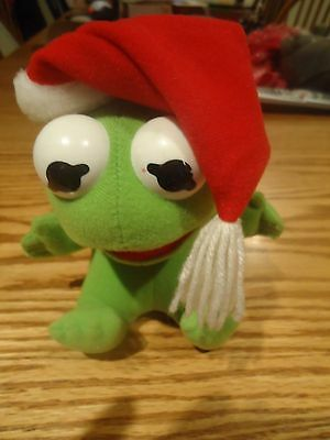 Vintage Muppet Baby Kermit the Frog with Santa Hat Stuffed Toy Doll 1987 7""