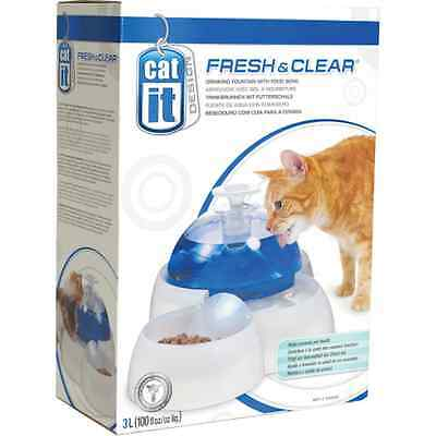 Catit Fresh & Clear Drinking Water 3L Fountain with Food Bowl for cats & dogs
