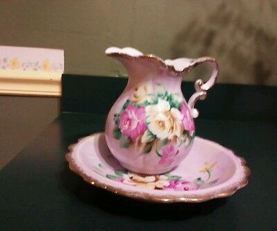Vintage Norleans Made In Japan Pitcher And Bowl Set Roses