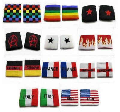 1 pair of New Sweatbands Flexible Sport Wristbands Various Designs Country Flags