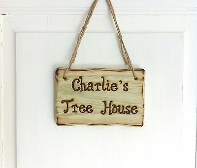 Driftwood Style Personalised Treehouse Den Wendy House Wooden Sign Any Text!