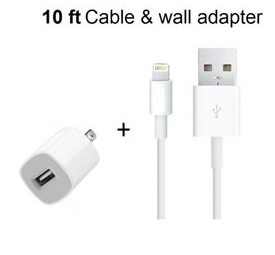 OEM 10FT Long 8Pin USB Cable Power Cord for iPhone 7, 7+, 6S, 6, 5 Wall charger