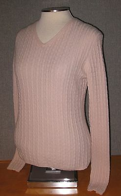 Daniel Bishop 100% Cashmere Sweater Pink Cable Fitted Shape Soft Quality S/M EUC
