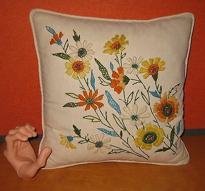 Vintage Sixties Crewel Feather Fill Pillow Yellow,Orange,Turquoise,Green 15X15