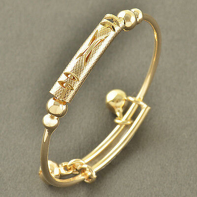 Nickel and Lead Free 9K Solid Gold Filled 2-Bell Toddle Baby Bangle,Z3362