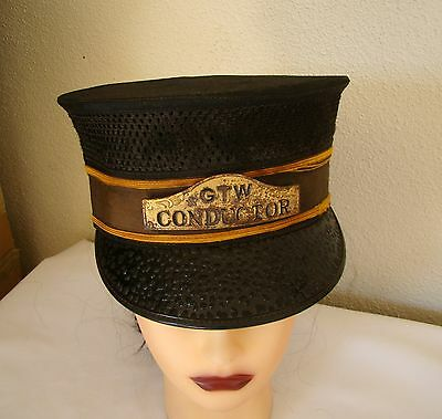 VINTAGE GTW RR CONDUCTOR HAT WITH BADGE-SZ 7 1/8~ ED V PRICE UNIFORM Co CHICAGO