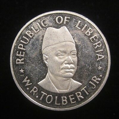 Liberia 50 Cents 1976 impaired proof, low mintage