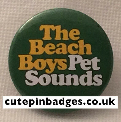 "Beach Boys Badge (25mm/1"") Pin Button Pet Sounds Brian Wilson 1960s Psychedelia"