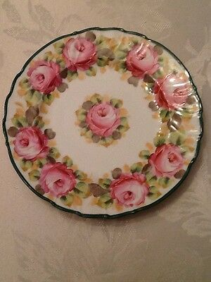 Vintage Germany Crown Saxe Plate Hand Painted Roses