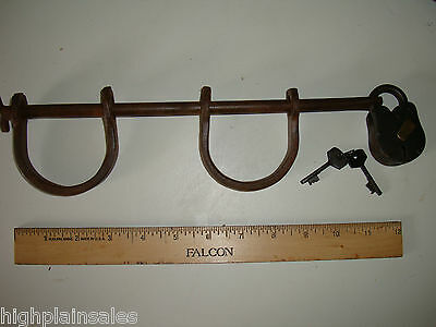 CAST IRON SLAVE SHACKLE WITH KEYS (2) GREAT WORKING CONDITION NICE! HANDCUFFS