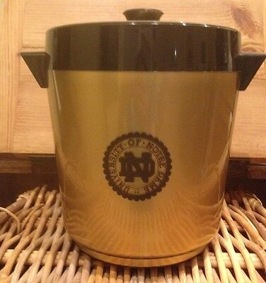 Vintage Notre Dame Ice Bucket 60's 70's Retro Thermoserv Plastic West Bend USA