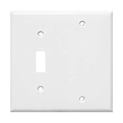 (1 pc) 2-Gang Wall Plate Cover White Toggle switch Blank Lexan Unbreakable