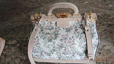 VINTAGE FRENCH COMPANY LUGGAGE...GRAY ROSE TAPESTRY...TOILETRY/TRAIN CASE