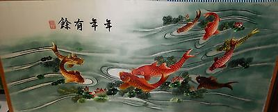 Huge Japanese Koi Fish Tulips Silk Embossed Embroidered Tapestry Painting Signed