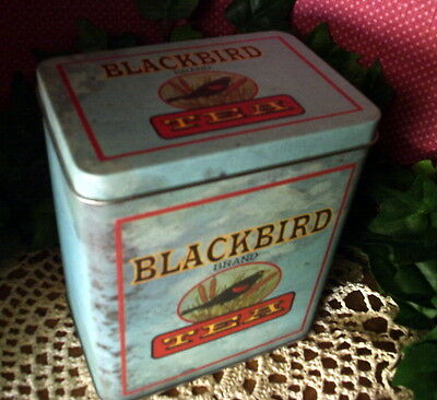 Primitive Black Bird Brand Tea Canister Vintage Style Advertising Tin Country