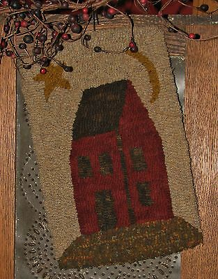"Primitive Hooked Rug Pattern On Linen ""Petite Prims Series ~ Red Saltbox"""