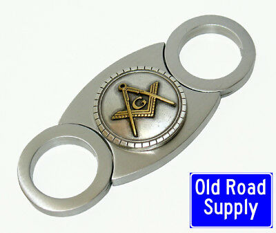Freemason Masonic Masons Cigar Cutter Stainless Steel Guillotine Dual Blade