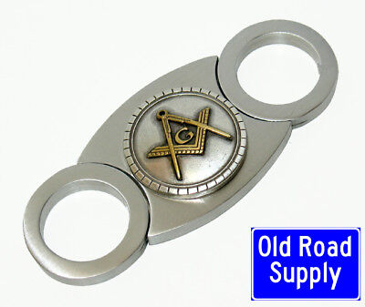 OVER 200 SOLD! Old Road Freemason Masonic Masons Stainless Cigar Cutter & Pouch