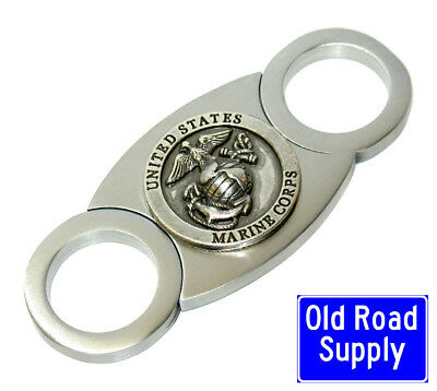 Old Road US Marines Silver Stainless Cigar Cutter Carry Pouch