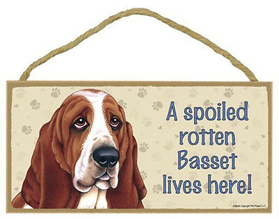 "Spoiled Rotten Basset Hound Sign Plaque Dog 10"" x 5""  gift pet lovers"