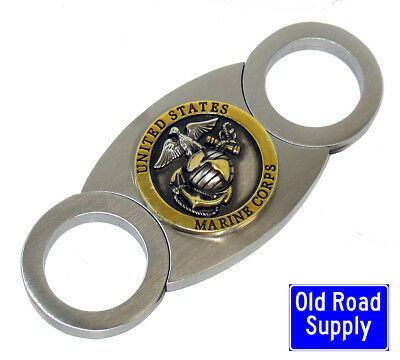 Old Road US Marines Gold Silver Stainless Cigar Cutter Carry Pouch