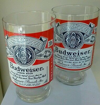 MAN CAVE !! Set Of 2 Vintage 24 Ounce Large Budweiser Glasses Free Gift Bags