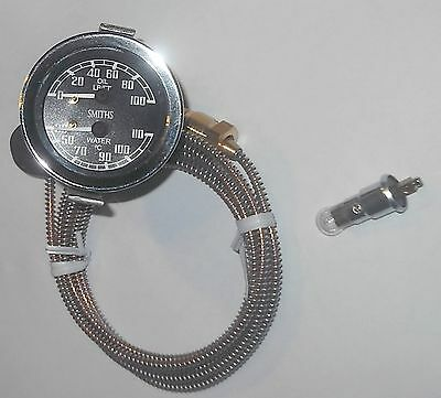 CENTIGRADE DUAL Water Temp deg C & Oil Pressure Gauge Psi 1960-70s