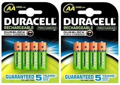 2 x 4 = 8 AA DURACELL 2400 mAh DURALOCK PRE/STAY CHARGED RECHARGEABLE BATTERIES