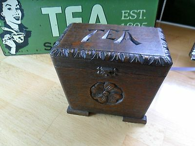 CHARMING VINTAGE SOLID OAK TEA CADDY  c 1930 WITH MUSIC BOX