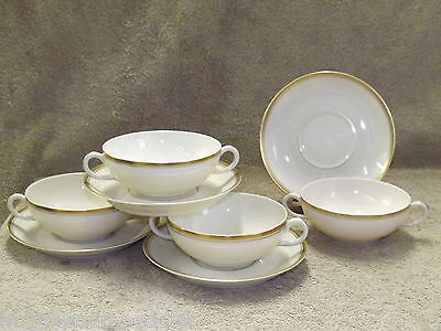Syracuse China USA made Monticello 4 Cream Soup Bowls Cups Saucers