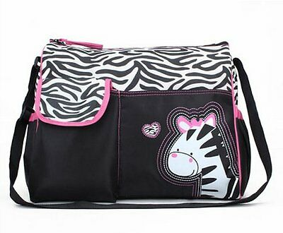 NEW Trendy Boutique Black & White Zebra Striped Pink Zebra Diaper Bag