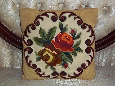 NEEDLEPOINT PILLOW~VELVET ROSE BROWN YARN THICK FLOWERS COLORFUL DESIGN VINTAGE
