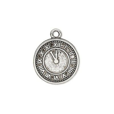 10 Antiqued Silver Pewter 18mm Roman Numeral Clock Face Charms Pendants Bulk Lot