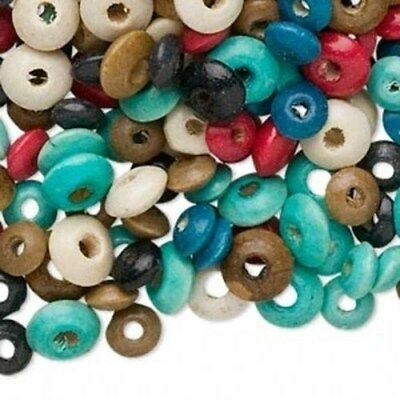 Wholesale Lot of Mixed Color & Size Round Rondelle Wood Beads 100 pcs