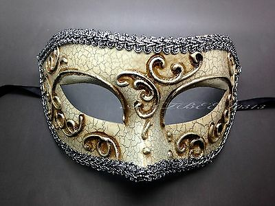 Venetian Silver Lining Carnival Man Masquerade Mask with Antique Cream Cracks