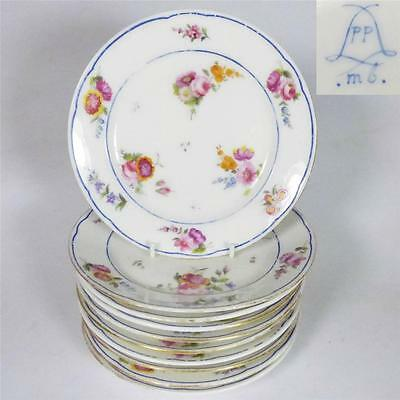 TEN ANTIQUE FRENCH SEVRES STYLE HAND PAINTED PORCELAIN PLATES FLOWERS BLUE BAND