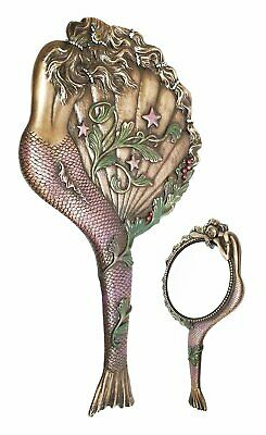 Art Nouveau Mermaid Hand Mirror Gift and Decor Bronze Finish Figurine Collection