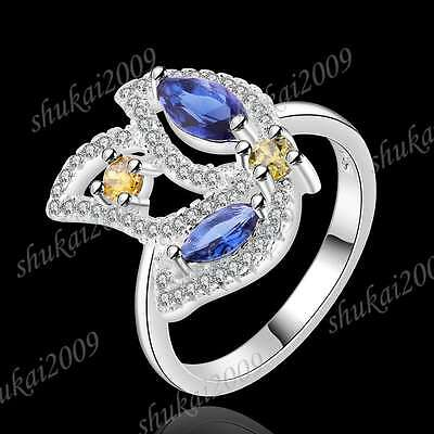CR431 Size 8 New Arrive Fashion 925 Silver Crystal Multicolor Zircon Flower Ring