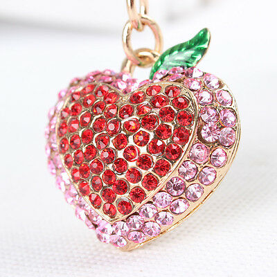 Strawberry Love Heart Charm Pendant Red Crystal Purse Bag Key Ring Keychain Gift