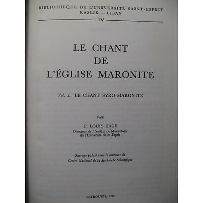 Le Chant de l'Eglise Maronite Vol 1 1972  Partition Sheet Music Spartiti Partitu