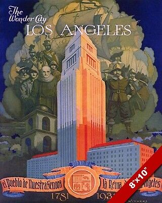 Vintage 1930'S Los Angeles California Tourism Poster Art Real Canvas Print