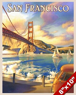 1950'S Vintage See San Francisco California Tourism Poster Art Real Canvas Print
