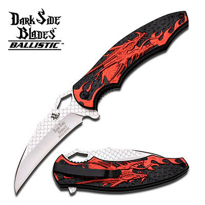 "8.5"" RED DRAGON SPRING ASSISTED FOLDING KNIFE Blade pocket open switch"
