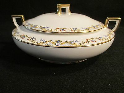 Homer Laughlin Covered Serving Bowl-K4513M Blue/Red Flowers/Gold Casserole Dish