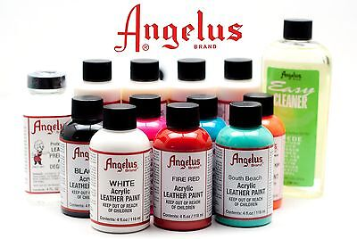 (2 Bottles) of Angelus Acrylic Shoes Boots Handbags Leather Paint Dye 1 oz