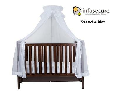 Br New Infa Secure Baby Cot Halo Net And Stand for Infant Bed Cradle Crib White