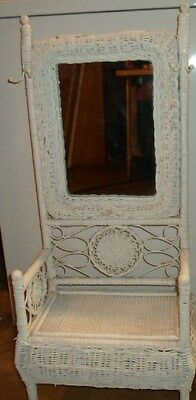 VINTAGE VICTORIAN STYLE WICKER MINATURE HALL MIRROR SEAT WITH HOOKS ADORABLE