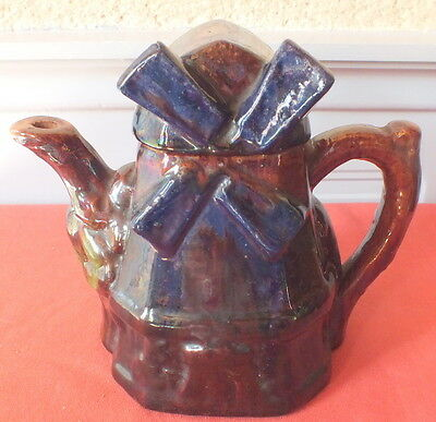 Theiere Cafetiere Ancienne Barbotine Faience Forme De Moulin Tea Coffee Pot