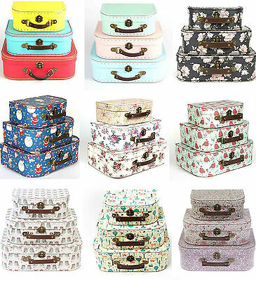 Floral Bright Pastel Suitcases Storage Boxes School Christmas Suitcase Box