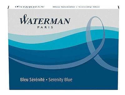 Waterman Fountain Pen Ink Cartridges 8-pk, Serenity Blue (Florida Blue)